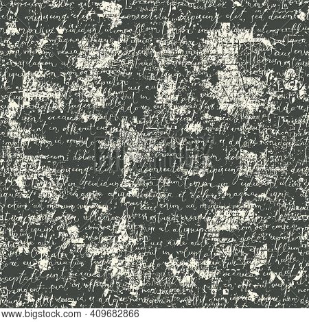 Abstract Seamless Pattern With Handwritten Text Lorem Ipsum On A Dark Backdrop In Retro Style. Vinta