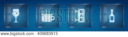 Set Glass Of Champagne, Coffee Cup, Street Signboard With Bar And Champagne Bottle. Square Glass Pan