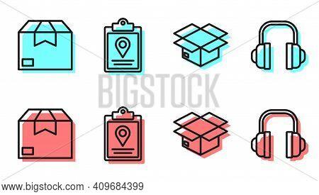 Set Line Carton Cardboard Box, Carton Cardboard Box, Document Tracking Marker System And Headphones