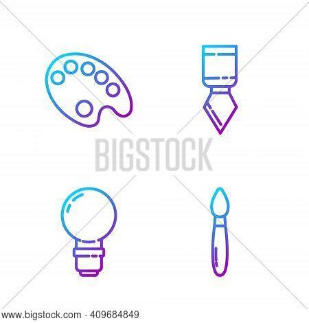 Set Line Paint Brush, Light Bulb, Palette And Palette Knife. Gradient Color Icons. Vector
