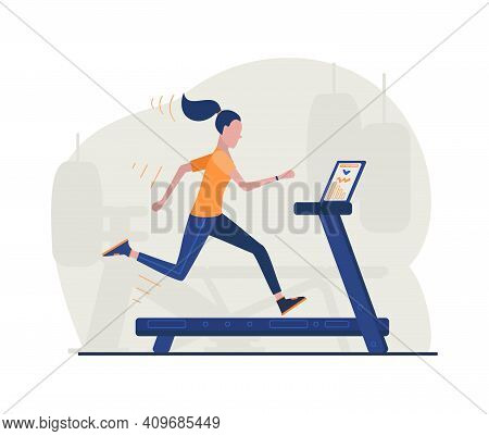 Woman Running On The Simulator In The Gym. Cardio Workout, Fitness Exercises. Healthy Life Style.