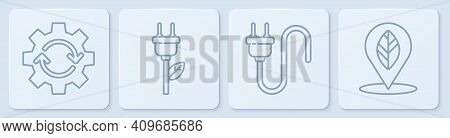 Set Line Gear And Arrows As Workflow, Electric Plug, Electric Saving Plug In Leaf And Location With