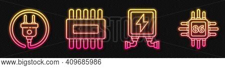 Set Line Electric Transformer, Electric Plug, Processor With Microcircuits Cpu And Processor With Mi