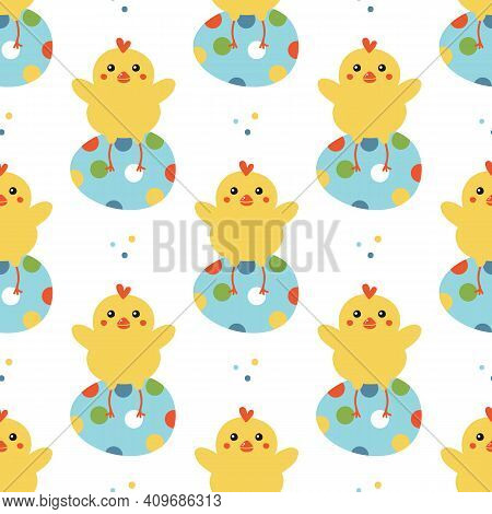 Easter Seamless Pattern Background With Cute Little Chicken Characters Sitting On Decorated Easter E