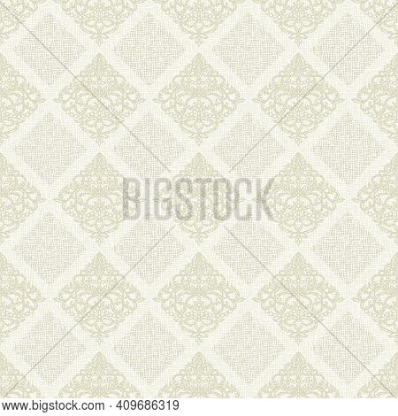 Seamless Background With Classic Patterns. Light Gold, Beige, Gray, White Colors, Pastel Tones. Coar