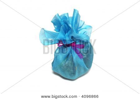 Bag With Herbs For Aroma Therapy Isolated On White Background.