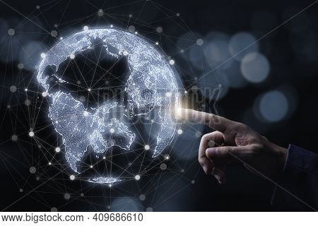 Businessman Touching To Virtual World With Connection Line For Global Networks And Technology Linkag