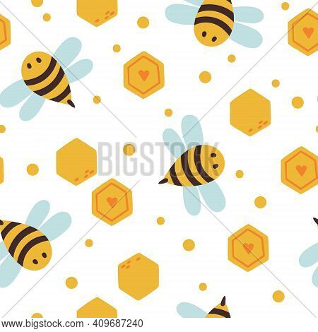 Honey Bee Kids Seamless Pattern, Cute Bumble Bee Digital Paper, Cartoon Insects And Honeycombs, Nurs