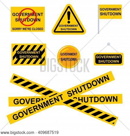 Government Shutdown Sign. Vector Set Of Black-and-yellow Flags, Icons, Ribbons, Stickers Isolated On