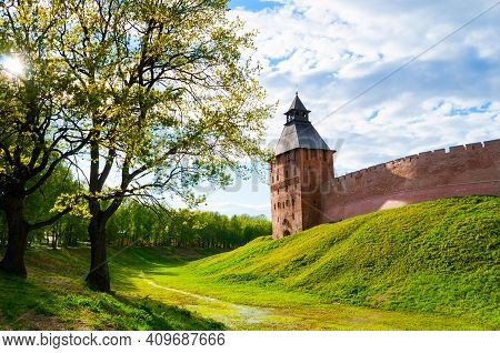 Veliky Novgorod, Russia, Kremlin castle. Kremlin castle fortress, summer travel landscape, Savior tower, Veliky Novgorod castle kremlin, castle of Veliky Novgorod