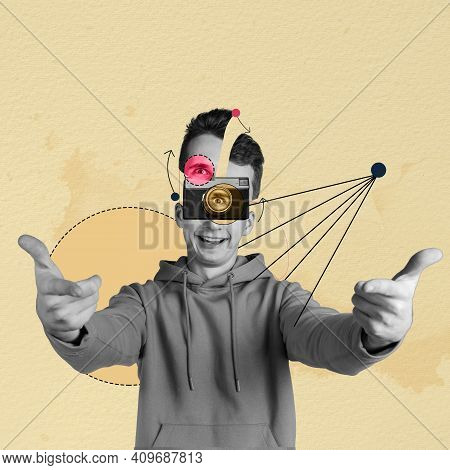 Contemporary Art Collage. Lines Art. Young Smiling Man Looking Through Camera Over Light Background.