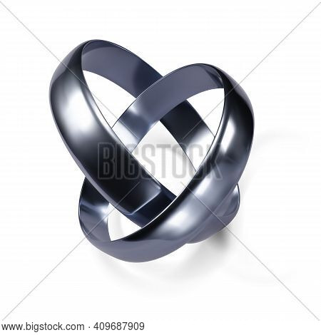 Couple Of Silver Wedding Rings. Platinum Jewelry Object. Vector Illustration