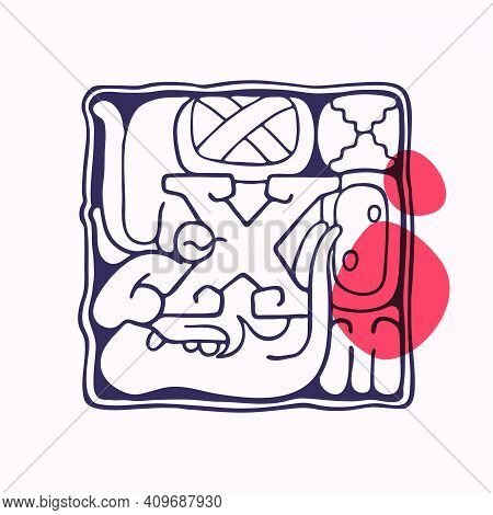Aztec Style Letter X Initial. Native American Font With Warrior Or God Face. You Can Use It In Histo