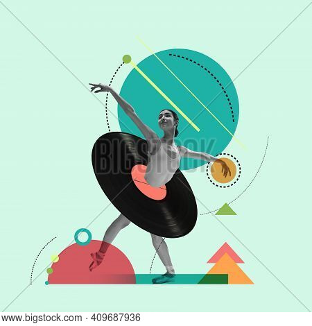 Black, Green And Red. Contemporary Art Collage. Beautiful Girl Ballet Dancer Dancing Isolated Over G