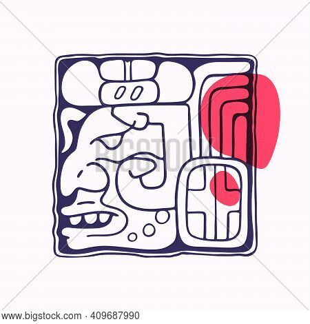 Aztec Style Letter J Initial. Native American Font With Warrior Or God Face. You Can Use It In Histo