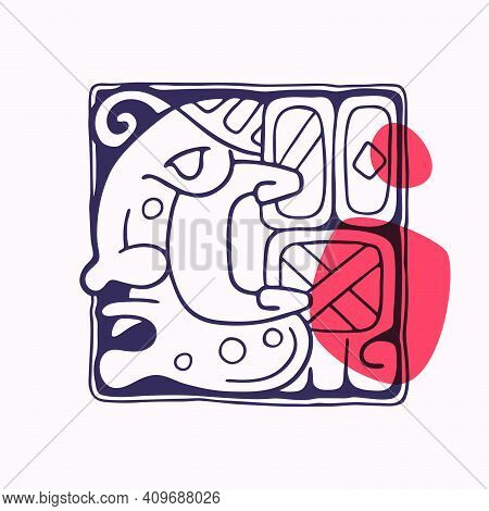 Aztec Style Letter C Initial. Native American Font With Warrior Or God Face. You Can Use It In Histo