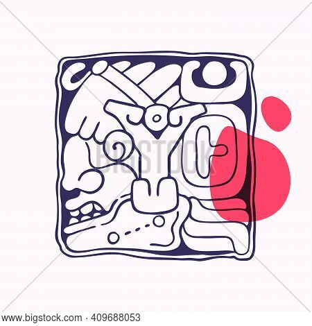 Aztec Style Letter Y Initial. Native American Font With Warrior Or God Face. You Can Use It In Histo