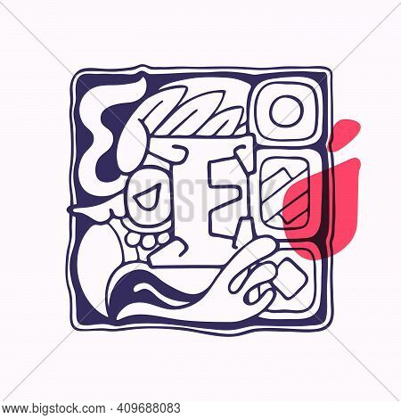 Aztec Style Letter E Initial. Native American Font With Vulture Or Eagle Face. You Can Use It In His