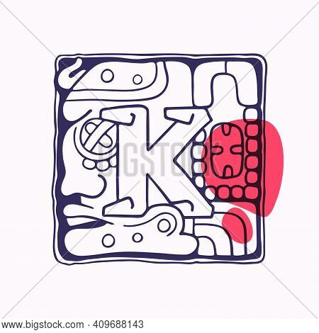 Aztec Style Letter K Initial. Native American Font With Warrior Or God Face. You Can Use It In Histo
