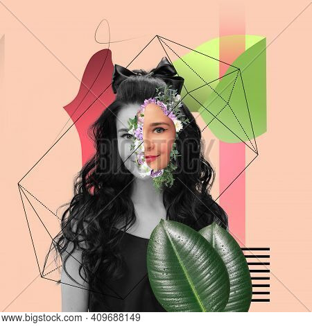 Contemporary Art Collage. Line Art. Beautiful Young Girl Looking At Camera Isolated On Geometric Lig