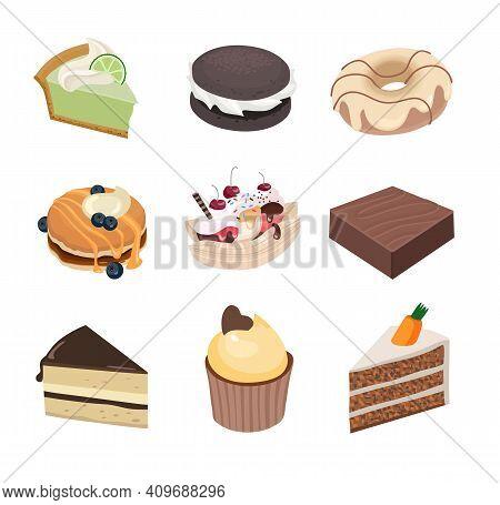 American Sweets Set. Key Lime Pie, Whoopie Pie, Donut, Pancakes, Banana Split, Brownie, Boston Cream