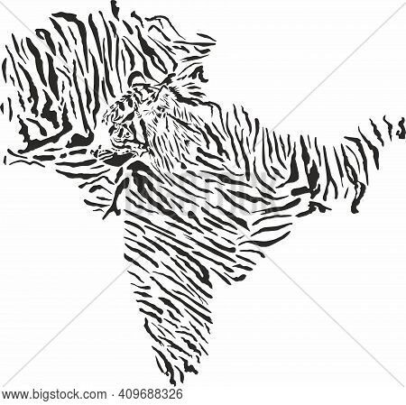 Vector Illustration Of A Tiger Fur Pattern And Tiger Head Background In The Shape Of The Indian Peni