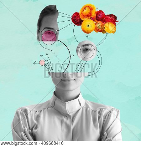 Contemporary Art Collage. Beautiful Young Girl And Red Yellow Flowers Isolated On Light Blue Backgro