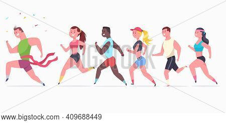 Women And Men Runners. Athlete People Character On The Marathon. Winner Crosses The Finish Ribbon. V