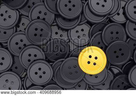 Unique Yellow Clothing Sewing Button Among Many Dark Ones. Standing Out From Crowd, Individuality An