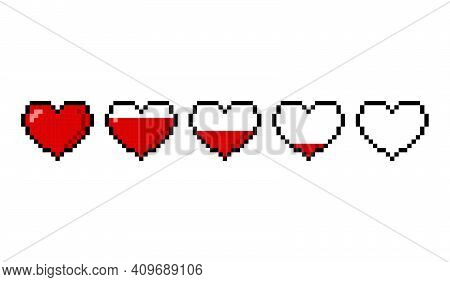 Red Pixel Hearts With A Health Scale Isolated On White Background. Pixel Game 8 Bit Health Heart Lif