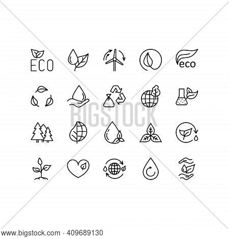Ecology And Environment Related Line Icon Set. Nature And Renewable Energy Simple Symbol. Contains S