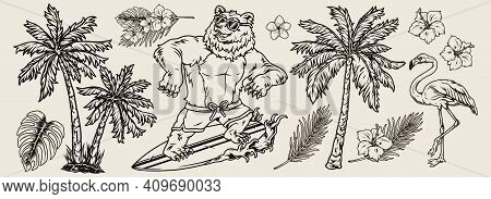 Surfing Vintage Monochrome Concept With Palm Trees Plumeria And Hibiscus Flowers Tropical Leaves Fla