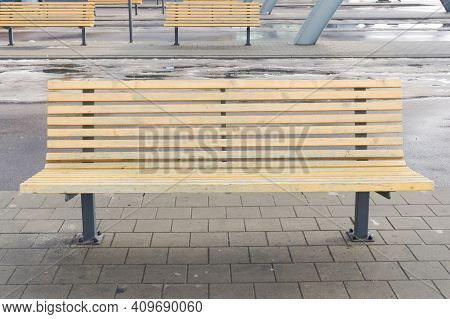 Waiting Room Bus Station. Outdoor Bus Platform. Departure Terminal Background. Wooden Bench For Sitt