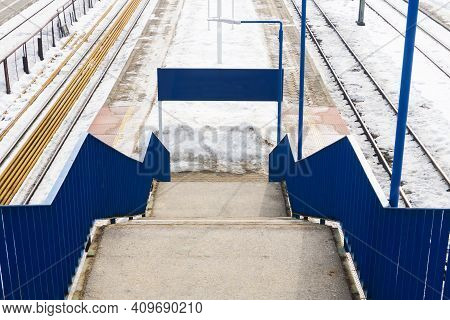 Train Station Stairs. Railway Top View Background. Footbridge Over Train Track. White Transportation