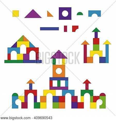 Multicolored Wooden Kids Blocks Toy Details Building Kit Set. Brick Parts For The Construction Of A
