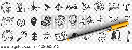 Navigation Tools And Equipment Doodle Set. Collection Of Hand Drawn Maps Globes Arrows Compass Orien