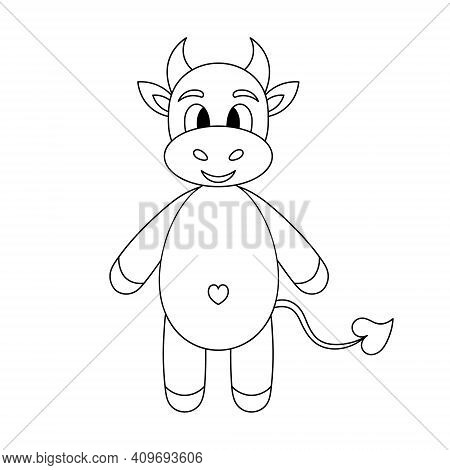 Little Goby. Baby Cow With A Cute Belly. Calf. Sketch. Vector Illustration. Outline On An Isolated W