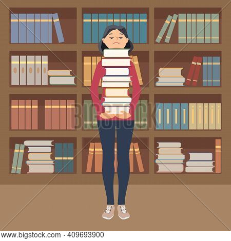A Young Girl In A Library Or Bookstore Holds A Large Stack Of Books In Her Hands, In The Background