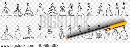 Feminine Elegant Dresses Doodle Set. Collection Of Hand Drawn Stylish Fashionable Elegant Dresses Fo