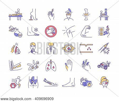 Physical Trauma Rgb Color Icons Set. Body Damage. Joint And Bone Infection. Eye Trauma. Injuries In