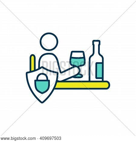 Alcoholic Beverages Refusal Rgb Color Icon. Handling With Alcohol Dependence. Substance Abuse, Bad H
