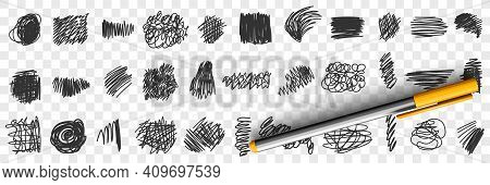 Written By Pen Or Pencil Scribbles Drawings Doodle Set. Collection Of Hand Drawn Scribbles Of Variou