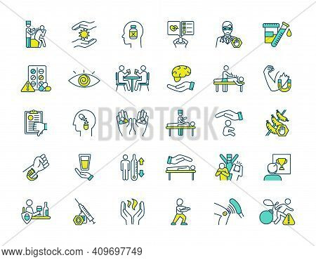 Alternative Medicine Rgb Color Icons Set. Acupuncture Session. Biofeedback. Energy Healing. Electrom