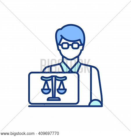 Jurist Rgb Color Icon. Providing Legal Assistance To Client. Law Expert. Jurisprudence Practice. Law