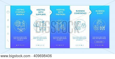 Business Travel Types Onboarding Vector Template. Meeting With Partners. Business Conference. Respon