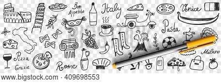 Symbols Of Italy Doodle Set. Collection Of Hand Drawn Italian Boots Pizza Coffee Wine Sightseeing Sc