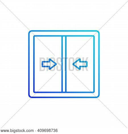 Sliding Windows Gradient Linear Vector Icon. Sliding Sashes Side-to-side. Double Hung Window. Easy A