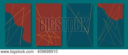 Collection Of Graphic Backgrounds For Social Media Stories. Gold Lines And Smooth Abstract Shapes In