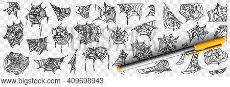 Spider Web Patterns Doodle Set. Collection Of Hand Drawn Silhouette Of Natural Patterns Of Spider We