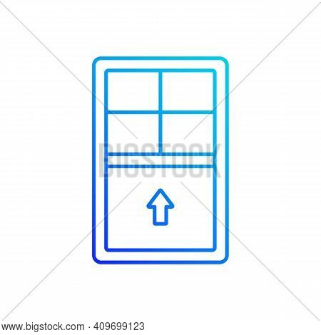 Single-hung Windows Gradient Linear Vector Icon. Single Movable Sash With Raise From Bottom. Vertica